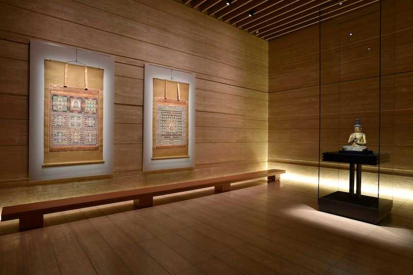 Buddhist are inside the gallery space of the Hanzomon Museum