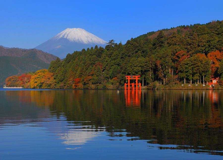 View of Mt. Fuji and red torii gates from across Lake Ashi