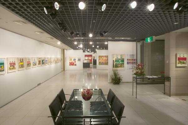 Seating area and wall displays at the Bunkamura Gallery, Shibuya